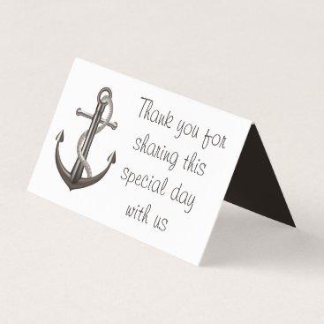 Beach Themed Nautical Anchor Wedding Thank You Brown Escort Place Card