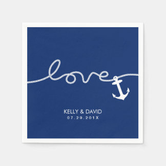 Nautical Anchor Wedding Tying the Knot Napkin