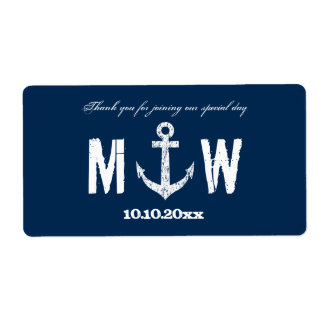 Nautical anchor wedding wine or water bottle label shipping label
