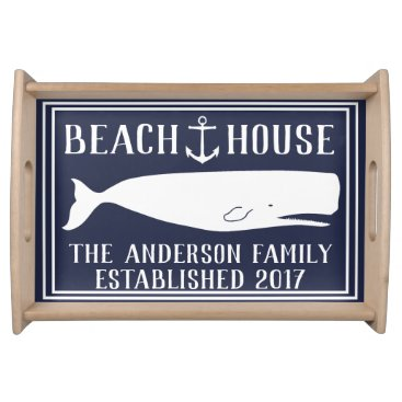Beach Themed Nautical Anchor & Whale Family Beach House Serving Tray