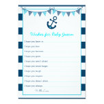 """Nautical Anchor Wishes for Baby Cards 5"""" X 7"""" Invitation Card"""