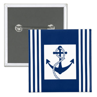Nautical Anchor with a Rope 2 Inch Square Button