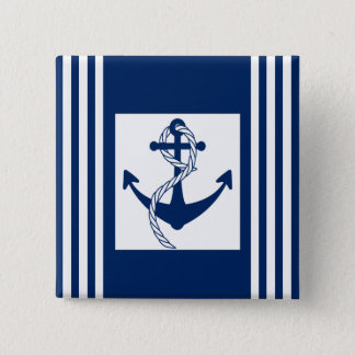 Nautical Anchor with a Rope Pinback Button
