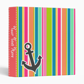 Nautical Anchor with Colorful Stripes 3 Ring Binder