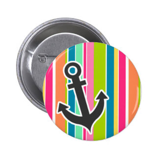 Nautical Anchor with Colorful Stripes Pinback Buttons