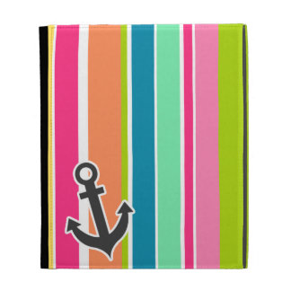 Nautical Anchor with Colorful Stripes iPad Cases