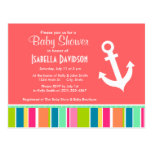 Nautical Anchor with Colorful Stripes Post Card