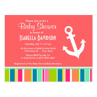 Nautical Anchor with Colorful Stripes Postcard