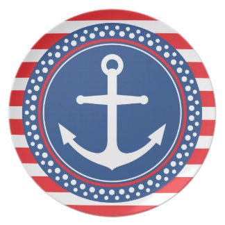 Nautical anchor with dot border and red stripes dinner plates