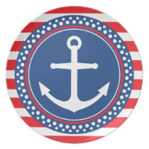 Nautical anchor with dot border and red stripes melamine plate