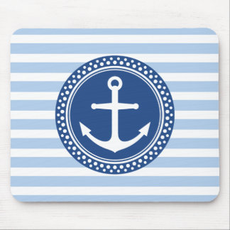 Nautical anchor with dot border and red stripes mouse pad