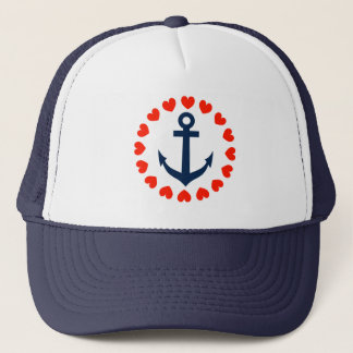 Nautical anchor with hearts | sailing hat for girl