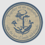 Nautical Anchor with Love Classic Round Sticker