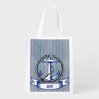 Nautical Anchor with Monogram Ribbon Market Totes