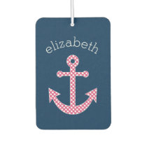 Nautical Anchor with Navy Pink Polka Dot Pattern Car Air Freshener