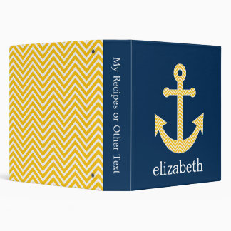 Nautical Anchor with Navy Yellow Chevron Pattern 3 Ring Binders