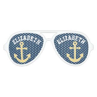 Nautical Anchor with Navy Yellow Chevron Pattern Aviator Sunglasses