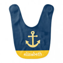 Nautical Anchor with Navy Yellow Chevron Pattern Baby Bib