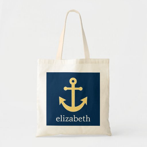 Nautical Anchor with Navy Yellow Chevron Pattern Tote Bags
