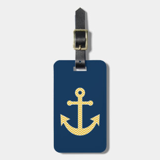 Nautical Anchor with Navy Yellow Chevron Pattern Bag Tag