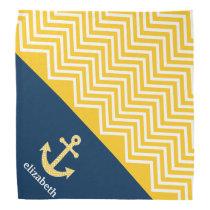 Nautical Anchor with Navy Yellow Chevron Pattern Bandana