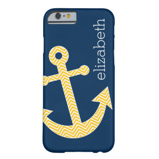Nautical Anchor with Navy Yellow Chevron Pattern Barely There iPhone 6 Case