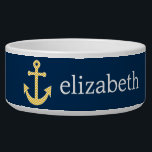 """Nautical Anchor with Navy Yellow Chevron Pattern Bowl<br><div class=""""desc"""">Trendy and Preppy Patterns - A classic and elegant design with chevrons and an area to add your name or monogram.</div>"""