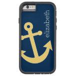Nautical Anchor with Navy Yellow Chevron Pattern Tough Xtreme iPhone 6 Case