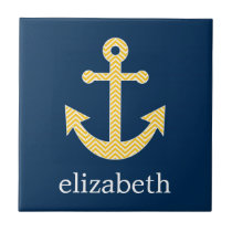 Nautical Anchor with Navy Yellow Chevron Pattern Ceramic Tile