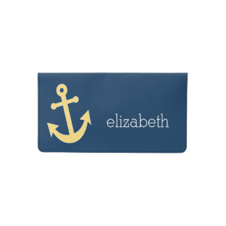Nautical Anchor with Navy Yellow Chevron Pattern Checkbook Cover