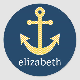 Nautical Anchor with Navy Yellow Chevron Pattern Classic Round Sticker