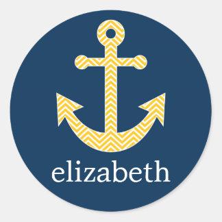 Nautical Anchor with Navy Yellow Chevron Pattern Classic Round Sticker