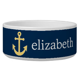 Nautical Anchor with Navy Yellow Chevron Pattern Dog Water Bowl