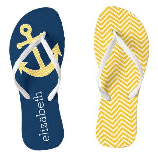 Nautical Anchor with Navy Yellow Chevron Pattern Flip Flops