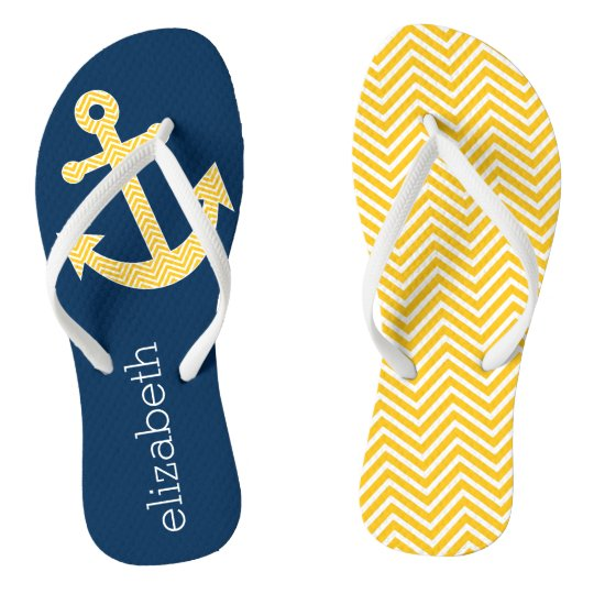 9e212ac6986e Nautical Anchor with Navy Yellow Chevron Pattern Flip Flops