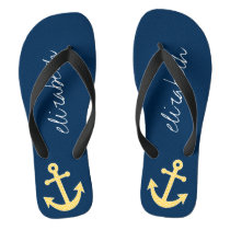 Nautical Anchor with Navy Yellow Chevron Pattern Flip Flops