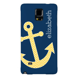 Nautical Anchor with Navy Yellow Chevron Pattern Galaxy Note 4 Case