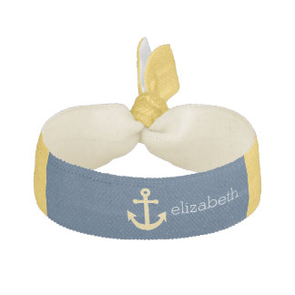 Nautical Anchor with Navy Yellow Chevron Pattern Hair Tie