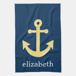 Nautical Anchor with Navy Yellow Chevron Pattern Hand Towel