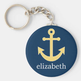 Nautical Anchor with Navy Yellow Chevron Pattern Keychain