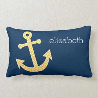 Nautical Anchor with Navy Yellow Chevron Pattern Lumbar Pillow