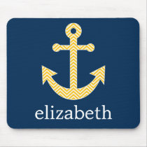 Nautical Anchor with Navy Yellow Chevron Pattern Mouse Pad