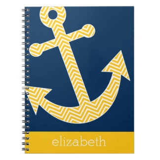 Nautical Anchor with Navy Yellow Chevron Pattern Notebook