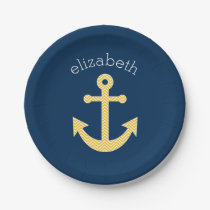 Nautical Anchor with Navy Yellow Chevron Pattern Paper Plate