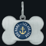 """Nautical Anchor with Navy Yellow Chevron Pattern Pet ID Tag<br><div class=""""desc"""">Trendy and Preppy Patterns - A classic and elegant design with chevrons and an area to add your name or monogram.</div>"""