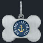 "Nautical Anchor with Navy Yellow Chevron Pattern Pet ID Tag<br><div class=""desc"">Trendy and Preppy Patterns - A classic and elegant design with chevrons and an area to add your name or monogram.</div>"