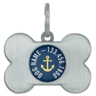 Nautical Anchor with Navy Yellow Chevron Pattern Pet ID Tag