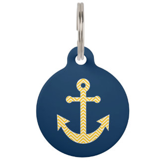 Nautical Anchor with Navy Yellow Chevron Pattern Pet Name Tag