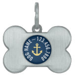 Nautical Anchor with Navy Yellow Chevron Pattern Pet Tags