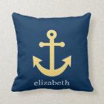 Nautical Anchor with Navy Yellow Chevron Pattern Pillow